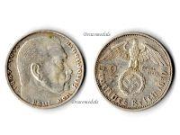 Nazi Germany 2 Mark Coin 1939 A Swastika WWII German Paul Von Hindenburg 3rd Third Reich WW2