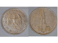 Nazi Germany 5 Mark Coin 1935 D with Swastika Potsdam Church