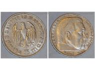 Nazi Germany 5 Mark Coin 1935 D Without Swastika WWII German Paul Von Hindenburg 3rd Third Reich WW2