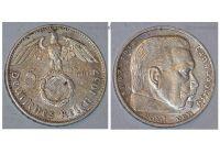 Nazi Germany 5 Mark Coin 1937 E with Swastika Paul Von Hindenburg