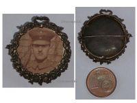 Germany WW1 Photo Portrait Soldier Cap Patriotic Frame Brooch Pin Prussia Veterans WWI 1914 1918 Great War