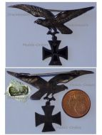 Germany Prussia WWI German Imperial Flying Corps Patriotic Badge Eagle with Iron Cross Silver 936
