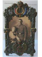 Germany WW1 Patriotic Frame Imperial Eagle Bavaria Iron Cross Photo Bavarian NCO Sergeant Military WWI 1914 1918 Great War