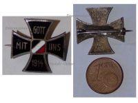 Germany WW1 Iron Cross Gott Mit Uns 1914 Patriotic Badge German Colors Great War 1918 Decoration