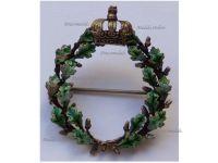 Germany WWI Prussian Royal Crown with Oak Leaves Wreath Patriotic Brooch Silver 800