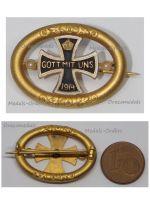 Germany WWI Patriotic Cap Badge Iron Cross Gott Mit Uns 1914