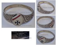 Germany WW1 Ring Patriotic Iron Cross EK1 Oval Prussian German Colors Trench Art Silver 800 Great War 1914 1918