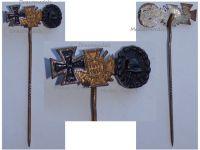 Germany WWI Black Wound Badge Iron Cross Hindenburg Cross with Swords 1914 1918 Set Stickpin MINI