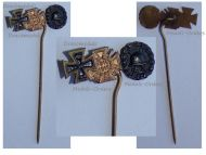 Germany WWI Black Wound Badge Iron Cross Hindenburg Cross with Swords 1914 1918 Set Stickpin MINI