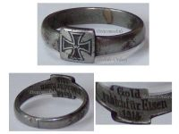 Germany WWI Ring Patriotic I Gave Gold for Iron Cross EK1 1914 Trench Art German Prussia Great War 1918