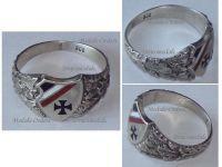 Germany WW1 Ring Patriotic Iron Cross EK1 Oak Leaves Prussian Flag Trench Art 1914 German Silver 800 Great War