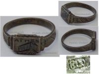 NAZI Germany WWII Ring Occupation Athens Greece Parthenon Acropolis April 1941 October 1944 Silver 800