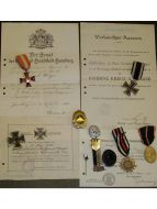 Germany WW1 Hanseatic Hamburg Iron Cross Infantry NCO set EK1 Military medals 1914 1918 Diploma German
