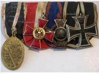 Germany WWI Set of 4 Medals (Hanseatic Cross of Lubeck, Iron Cross & Oldenburg Friedrich August' Cross 2nd Class, Kyffhauser Veterans Medal)