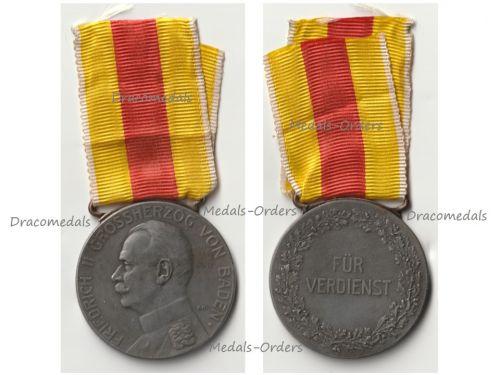 Germany WWI Baden Silver Merit Medal of Grand Duke Friedrich II 1908 of the Period 1916 1918 in Zinc