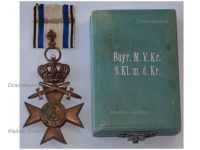 Germany WWI Bavaria Merenti Cross of Military Merit 3rd Class with Swords Crown Boxed