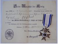 Germany WWI Bavaria Merenti Cross of Military Merit 2nd Class with Swords with Diploma to Infantry NCO Dated 1918