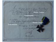 Germany WWI Brunswick EA2 Ernst August's Cross of Military Merit 2nd Class with Diploma to the 79th Infantry Regiment von Voigts Rhetz
