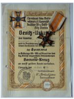 Germany WWI Somme Cross 1914 1918 1st type by Fleck & Sohn with Diploma to NCO
