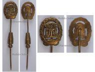 NAZI Germany WWII Sports Badge DRL 1935 1945 Bronze Class Stickpin by Wernstein Jena MINI