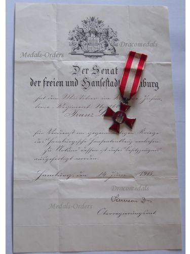 Germany WW1 Medal Hanseatic War Cross Hamburg 1914 1918 Decoration Merit German Great War Diploma 1916 Rifleman Res. Infantry Reg. 260