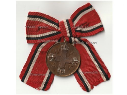 Germany WWI Prussia Red Cross Service Medal 3rd Class in Bronze on Bow for Female Recipient
