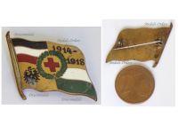 Germany WWI Saxony German Red Cross Patriotic Cap Badge 1914 1918