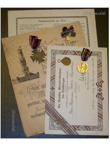 Germany WW1 Navy Medals Set Flanders Cross Diplomas Miniatures Decorations WWI 1914 1918