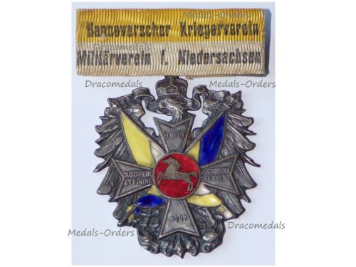 Germany WWI Prussia Veterans Association Badge of Niedersachsen Hanover by Lauer