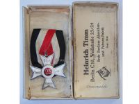 Germany WW1 Prussia Veterans Cross Membership 25 years Prussian Land Forces Military Medal WWI 1914 1918 Decoration Boxed Timm Berlin