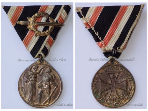 Germany WWI Commemorative Medal of the German Legion of Honor with Sword for Combatants on Trifold Ribbon