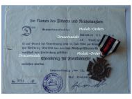 Germany WWI Hindenburg Cross with Swords for Combatants with Diploma to the 79th Infantry Regiment von Voigts Rhetz