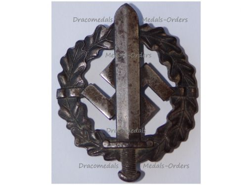NAZI Germany WWII SA Sports Badge Silver CLass 3rd type 1939 in Iron by W. Redo