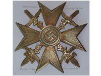 NAZI Germany WW2 Spanish Cross Gold Swords Civil War 1936 1939 Legion Condor Military Badge German Maker C. E. Juncker Silver 900