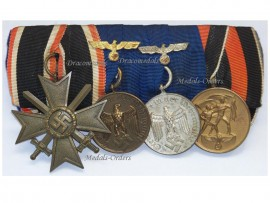NAZI Germany WW2 Military Cross War Merit Swords 1939 2Cls Long Service Medal 3Cl & 4Cl Wehrmacht Kriegsmarine Sudetenland German WWII set