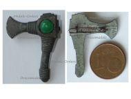 NAZI Germany WWII Germanic Axe WHW Badge Tinnie Marked W10