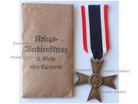 NAZI Germany WWII Military Cross for War Merit without Swords 2nd Class 1939 with Envelope of Issue by Maker 1 Deschler & Sohn