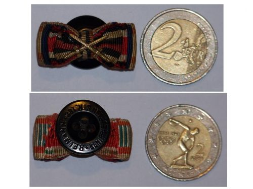 NAZI Germany Hungary Bulgaria Ribbon Lapel Pin Boutonniere 5 Medals (WWII Iron Cross & Loyal Civil Service Medal, WWI Hindenburg Cross, Bulgarian & Hungarian Commemorative Medal Pro Deo et Patria)