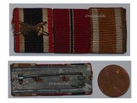 NAZI Germany WWII Ribbon Bar 3 Medals War Merit Cross with Swords Eastern Front Westwall Medal