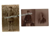 Germany WW1 2 Photos Soldier Black Wound Badge Military Medal Photograph Postcard 1914 1918 Great War WWI