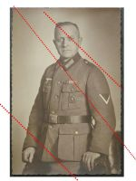 NAZI Germany WW2 photo portrait Austrian NCO WW1 Ribbon Bar Medals Wound Badge Cut Out WWII 1939 1945 Wehrmacht photograph