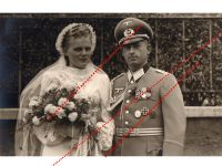 NAZI Germany WW2 photo German Officer Iron Cross EK1 Sudetenland Medal Silver Wound Sport Badge Wehrmacht Wedding Photograph