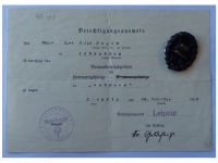 Germany WWI Black Wound Badge Medal for the Army with Diploma to the 474th Infantry Regiment of Saxony