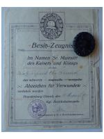 Germany WWI Black Wound Badge Medal for the Army with Diploma to the 79th Infantry Regiment von Voigts Rhetz