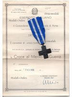 Italy WW2 Cross War Merit 1949 with Diploma Infantry 1942 Military Medal Italian Decoration Republic 1955 WWII 1940 1945