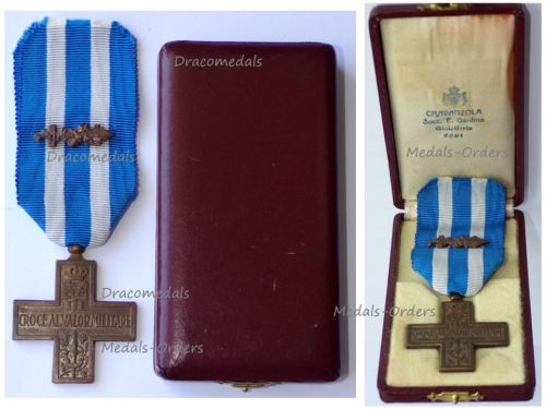 Italy WWII Cross for Military Valor Croce Al Valor Militare 1941 1942 with Gladius Sword FERT Boxed by Cravanzola