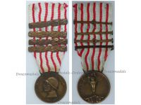 Italy WWI Italian Unification Commemorative Medal for the War of 1915 1918 with 4 clasps 1915 1916 1917 1918 by Lorioli Castelli