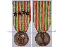 Italy WWI Italian Unification Commemorative Medal for the War of 1915 1918 with 4 Bronze Stars for NCOs by Johnson
