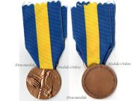 Italy Friuli Earthquake Medal Merit Commemorative Bronze Military Decoration Italian Republic 1976 Award 1st Type Signed Giandomenico