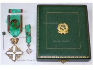 Italy Order Merit Italian Republic Officer's Cross 1951 with Miniature & Lapel Pin Boxed set